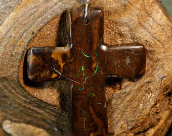 Green Fire - Boulder Opal Cross Pendant on Sterling Silver Necklace