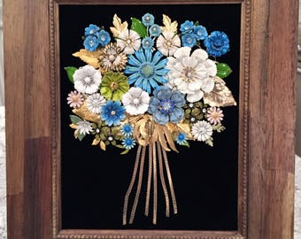 Framed Art Flower Bouquet Handmade with Vintage/Costume Jewelry