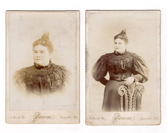Two antique cabinet card pgotos of the same woman