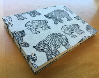 Winter Bears Sketchbook // Handmade Notebook // Coptic Stitch Journal // Hardcover // White, Black, Blue // Unique Gift Under 10