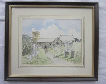 PAINTING Crantock Newquay Cornwall signed framed watercolour by Gwen Diamond