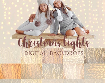 15 Christmas lights digital backdrops + Bonus 10 Gold bokeh overlays