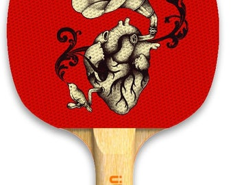 Designer Listen To Your Heart Ping Pong Paddle Table Tennis Custom