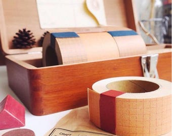 Classiky Craft log packing tape, Grid kraft paper tape, 3cm x 10m, Made in Japan
