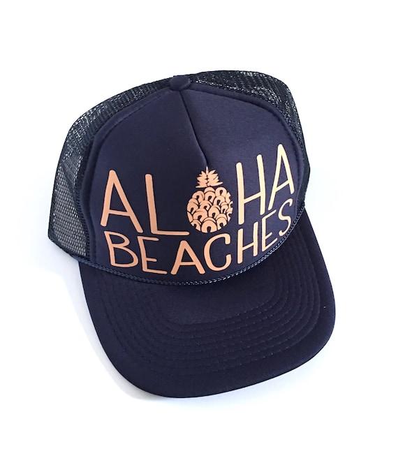 Aloha Beaches Naval | Aloha Trucker Hat| Aloha Hat| Trucker Hat| Hawaii Hat| Pineapple Hat| Pineapple| Beach Hat| Navy Hat