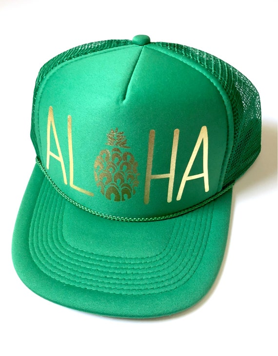 Shamrock Aloha Trucker Hat| Green Hat| Aloha Hat|Trucker Hat|Pineapple| Hawaii Hat| Beach Hat| Green Gold Vinyl St. Patricks Day