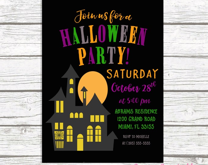 Halloween Party Invitation, Halloween Invitation, Haunted House Halloween Invitation, Costume Party Invitation, Kids Halloween Invite