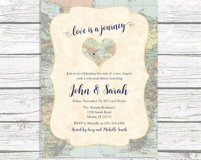 Map Travel Rehearsal Dinner Invitation, Love is a Journey, Adventure Awaits Rehearsal Dinner Invite, Destination Wedding, Printable Invite