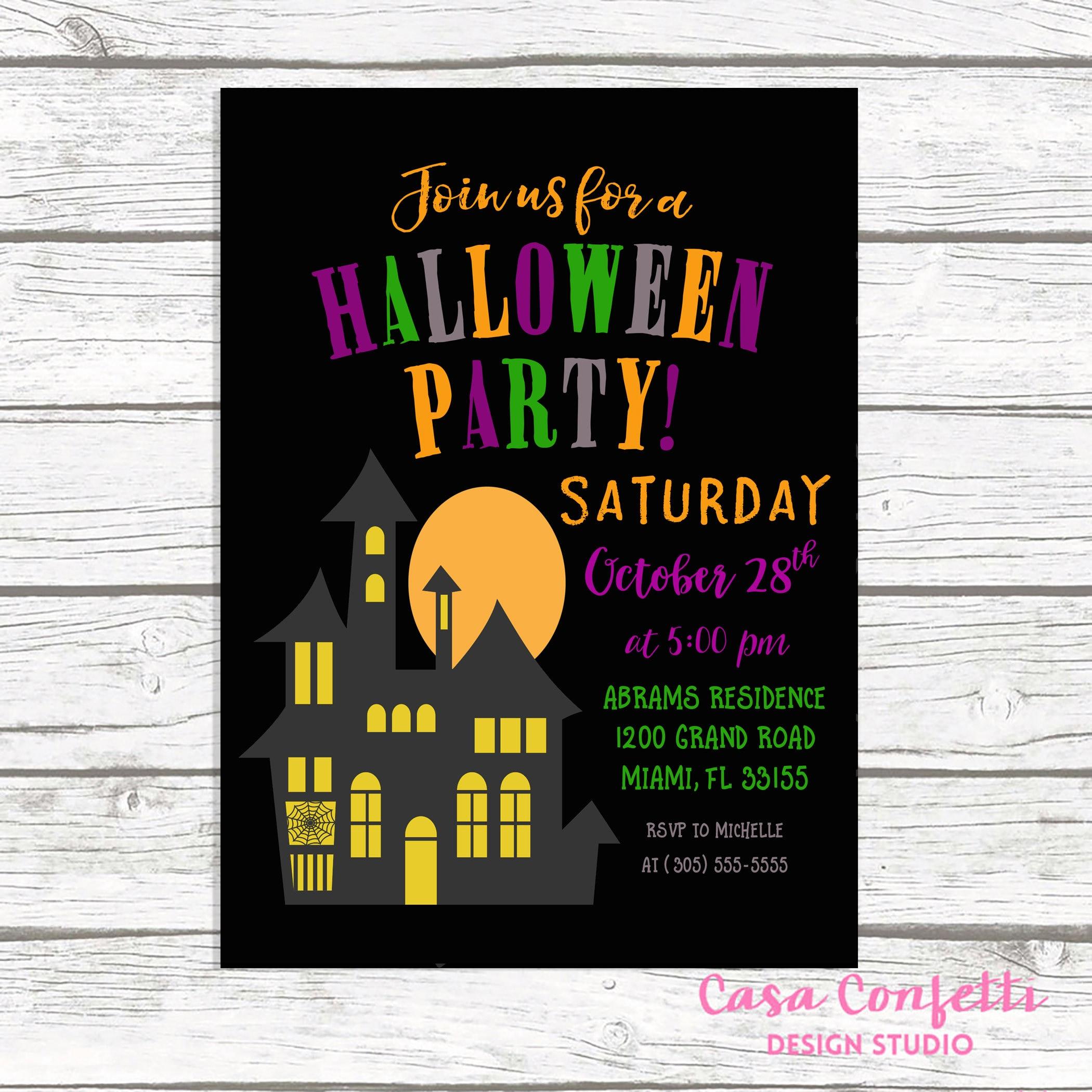 Halloween Party Invitation, Halloween Invitation, Haunted House ...