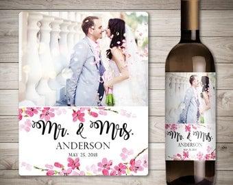 Photo Wedding Wine Label - Custom Wine Label - Personalized Wine Label - Wedding Wine Bottle Label - Spring Wedding _ Cherry Blossom Wedding