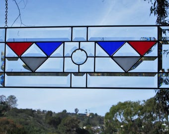 """Art Deco Patriotic """"Show Our Colors"""" Jewel Stained Glass