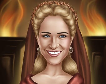 Digital custom caricature from photo as birthday gift for wife, gift for girlfriend or coworker gift