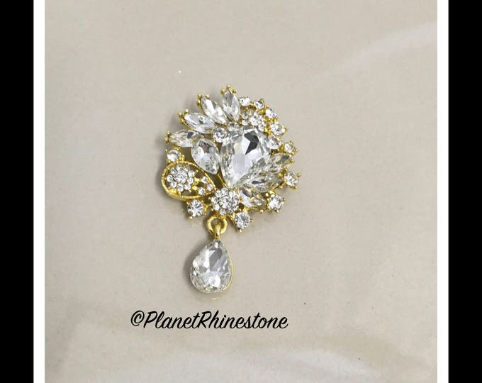 Gold Dangling Crystal Rhinestone Brooch #B-7
