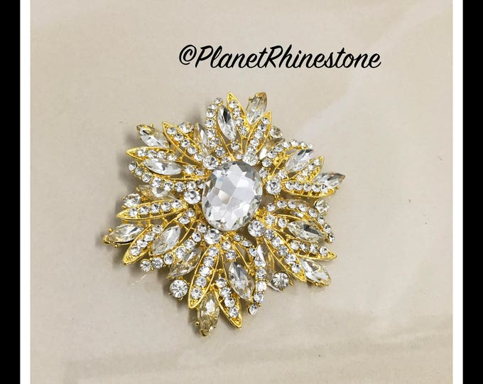 Gold Large Rhinestone Brooche #B-13