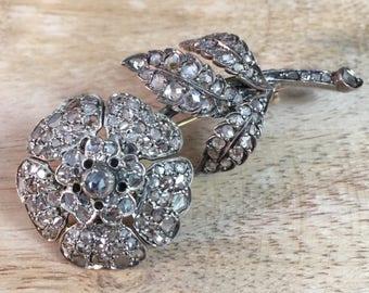 Antique Victorian Rose Cut Diamond Flower Brooch