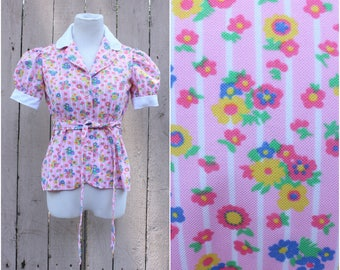 Vintage 1970's Bubblegum Pink Flower Print Puff Sleeve Blouse, Size - Small/Medium