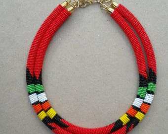2 in 1 beaded necklace, African jewelry, African necklace, gift for women