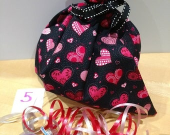 "BagItAgain 9""x10"" Valentine's Cotton Cloth Bag. Reuse Recycle Regift"