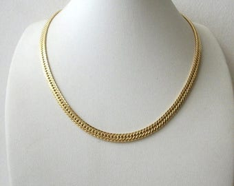 ON SALE Vintage MONET Gold Tone Heringbone Necklace 5917