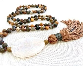 Mala Tassel, Yoga Long Necklace, Agate mala necklace, gemstones mala, Mantra necklace, Tassel necklace, Meditation necklace, 108 Mala Beads