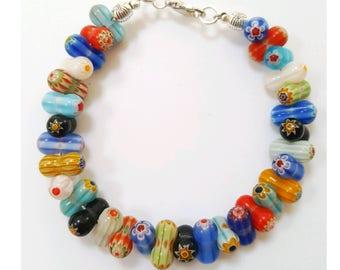Millefiori beaded bracelet, multicolor glass bracelet, multicolor millefiori bracelet, millefiori jewelry, colorful jewelry, beaded bracelet