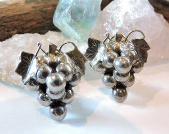 Grapes Sterling Silver Earrings Clip on