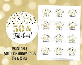 Printable 50 and Fabulous 50th Birthday Round Tags Black and Gold Confetti Instant Digital Download Labels Stickers or Tags