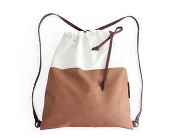 Simo BACKPACK, leather backpack, made of aniline leather, canvas and italian leather. Brown and beige