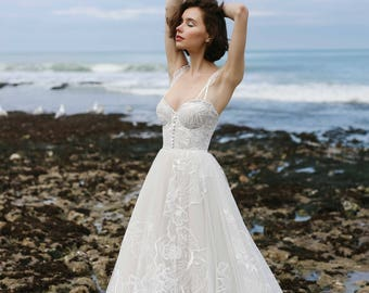 Wedding dress LAREIN, wedding dresses, long sleeve wedding dress, bridal dress,  lace wedding dress