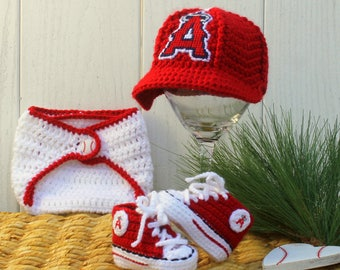Baby BASEBALL hat and shoes, Newborn baseball hat, Anahiem ANGELS baseball inspired (Handmade by me and not affiliated with the MLB)