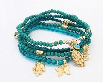 Set of Turquoise Beaded Bracelets