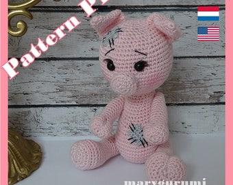 Crochet Pattern, pattern, tutorial, Amigurumi pig Max