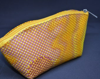 African Print/ Ankara Make up purse - Mustard - Made in Africa
