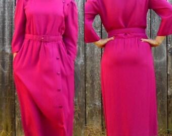Vintage 80s fuschia dress / Retro fuschia dress / 80s secretary dress / M