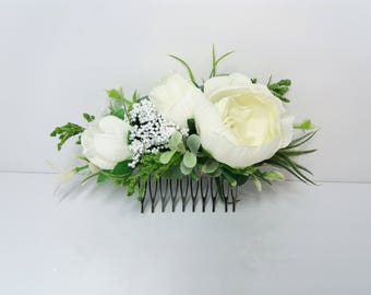 Ivory flower comb Eucalyptus flower comb Wedding flower comb Bridal flower comb Bridal hair accessories Floral headpiece Flower vine