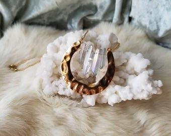 Golden Goddess Aqua Angel Aura Quartz Necklace