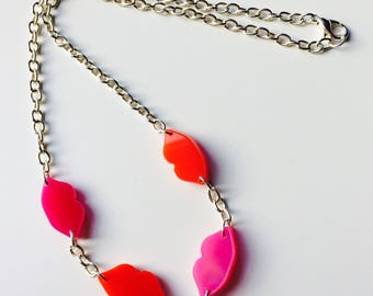 Sale | Lips | Kiss | Lipstick | Pop | Sassy | Red | Pink | Laser Cut | Acrylic | Necklace