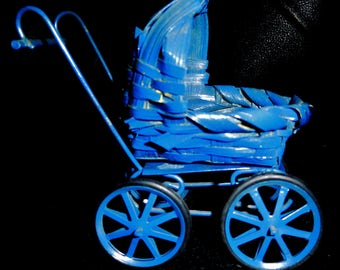 Vintage Vtg Blue Wicker and Metal with Rubber Tread Wheels Doll House Stroller Miniature Baby Carriage Buggy Miniature Furniture