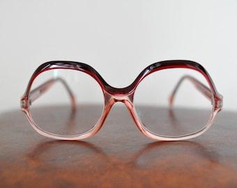vintage 70s LANVIN oversized eye-glasses / eyewear, purple red plastic rim, prescription lenses