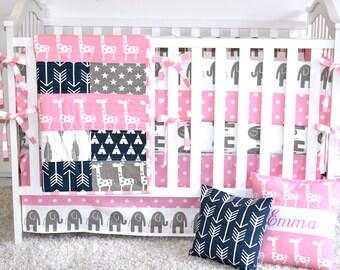 Pink, Navy, Grey Giraffes and Elephants  Crib Bedding, safari,Baby Girl,jungle, safari, modern nursery, pastel colors, grey, pink, chevro