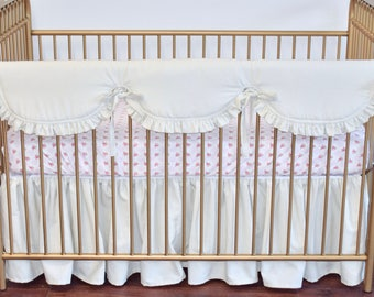 Farm House Linen Crib Bedding in Champagne, scalloped rail guard, gathered skirt, linen, country, shabby chic, roses, floral, ruffle rail