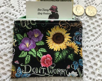 Pretty Flowers Coin purse,  Zipper, Change Purse