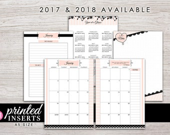 A5 Printed Planner Inserts - Monthly Planner - Filofax A5 - Kikki K Large - Design: Mademoiselle