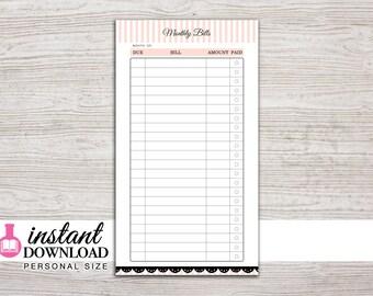 Planner Printable - Bill Tracker - Filofax Personal - Kikki K Medium - 3.75 x 6.75 in. - Design: Mademoiselle