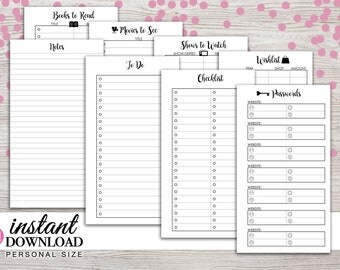 Planner Printable - Notes - To Do - Password Tracker - Lists - Filofax Personal - Kikki K Medium - 3.75x6.75 - Design: Wanderlust