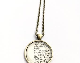 CURIOUS Vintage Dictionary Word Pendant