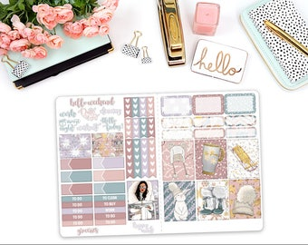 Snow Bunny B6 TN - sticker kit - Travelers Notebook - Erin Condren vertical - Happy Planner - weekly sticker Kit
