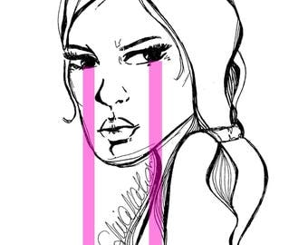 You can't buy me - Illustration Print Pink Tears