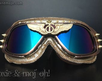 """BurningMan, Steampunk, Aviator, goggles: """"This is Your Captain Speaking"""" ~ Anti-Dust, U100% UV protection ~ work great on the Playa!"""