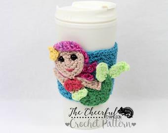 Crochet Pattern - Mermaid Crochet Pattern - Coffee Cozy Pattern - Coffee Sleeve pattern - Mermaid Coffee Holder - Crochet Mermaid Pattern
